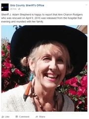Gila County Sheriff's Office posted an update on Ann Rodgers on Facebook on Monday, April 11, 2016. (Photo: Gila County Sheriff's Office)